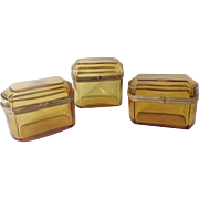 Beautiful Antique Amber Casket Hinged Boxes ~ A Grand Collection of THREE Lovely Amber Crystal Casket Hinged Boxes  with Gilt Mounts  & S Clasp ~ A GREAT Color!