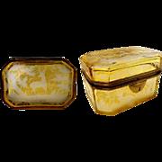 19C Bohemian Golden Amber Casket Hinged Box  ~ Smooth Gilt Mounts ~ Elks, Deer, Quail, Tree Etc ~ Wonderful Etching!  ~ It is a Beauty!