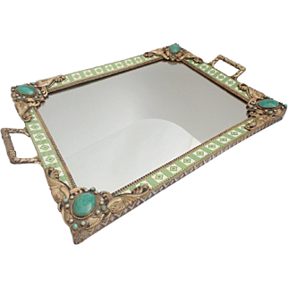 "Antique Austrian Jeweled Vanity Tray ~Beautiful Double Handles ~ Rare Color & Design   ""A BEAUTY"""
