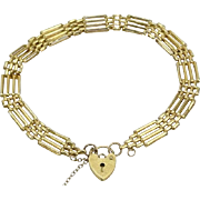 "Exquisite 8""   9 Karat Yellow Gold Link Bracelet with Heart Locket Clasp ~ This is a BEAUTY!"