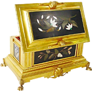 "Magnificent French Gilt Bronze Pietra Dura Casket Hinged Box "" FIVE GRANDEST PLAQUES""."