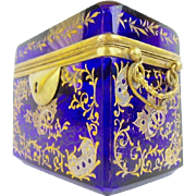 Antique Cobalt Moser Double Handle Casket  ~  Grandest Heavy Hand Enamel &  Gilding ~  Magnificent Gilt Ormolu Handles &  ALL Beveled Edges