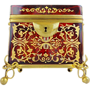 "Exquisite Antique Moser Red Casket Hinged Box with Double Handle ~ Magnificent Hand Enamel Covers the Glorious Ruby Casket ~ Beautiful Ornate Footed Base ~ "" A MASTERPIECE"""