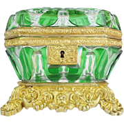 "EXQUISITE Antique Baccarat Cut Bronze Casket Hinged Box ~  "" THE BEST"" Baccarat Green Cut to Clear Casket ~  GRANDEST Bronze Mounts &  Base ~ A Baccarat Masterpiece From My Treasure Vault"