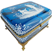 "MAGNIFICENT  7 ½""  Antique Bohemian Casket Hinged Box ~  Fabulous Hand Enameled Chinese Figures Grace the Top ~  Exquisite White Enamel Sides on Luscious Blue ~  Ornate Mounts & S Clasp."