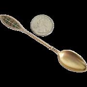 Estate Vintage Plique a Jour Sterling Silver Gilt Spoon