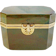 STUNNING & RARE  1845 Fredrich Egernann Lithyalin Glass Sugar Box Casket ~ Beautiful Green Marble Glass with Fabulous Gilt Mounts & Locking Clasp ~ A Opaque  Marbled Glass  Resembling Polished Gemstone