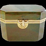 STUNNING & RARE  1845 Fredrich Egernann Lithyalin Glass Sugar Box Casket ~ Beautiful Green Marble Glass with Fabulous Gilt Mounts & Locking Clasp ~ A Opaque  Marbled Glass  Resembling Polished Gemstone