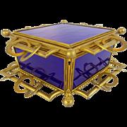 "12 ½"" Antique French Cobalt Bronze Casket Hinged Box "" RARE SHAPE & 5 COBALT GLASS PLAQUES "" Glorious BIG Antique French Cobalt Bronze Casket Hinged Box  ""Spectacular"" ~  RARE Shape with 5 Gorgeous Cobalt Glass Plaques  ~  Exquisite Dore' Bronze"