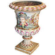 """9 ½"""" Antique Capodimonte Casket Hinged Box """" THE BEST! """" ~ Putti, Dogs, Horses,  & Boar ~ Beautiful Ornate Mounts With a Miniature Padlock &  Key ~ HUGH!  A Capodimonte  BEAUTY From my Treasure Vault."""