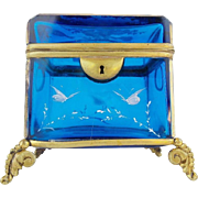 Charming  Antique Bohemian Blue Casket Hinged Box with Double Handle & The Most Wonderful Footed Base ~ Beautiful White Hand Enamel Flowers & Butterflies Covers the  Box