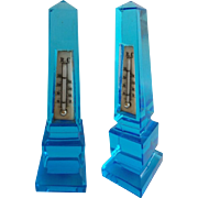 RARE Antique French Blue Glass Obelisk Thermometer ~ AWESOME Blue Glass ~