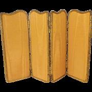 Antique Miniature Silk Ormolu Four Fold Screen ~ Charming Ornate Ormolu Surrounding  Beautiful Replacement Gold Silk …It is a BEAUTY!