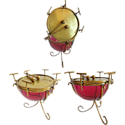 "Palais Royal Cranberry Casket Hinged Box "" DRUM SHAPE"" Rare & Wonderful"