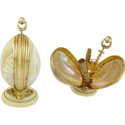 """9"""" Antique French Palais Royal Mother of Pearl Cigar Holder ~ BIG &  BEAUTIFUL ~  Twin GIANT Mother of Pearl Shells Resting on an Ornate Fancy Alabaster Plinth"""