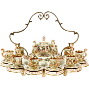 "R. Capodimonte Porcelain Demitasse Tea Service ""PUTTI & AWESOME GILDING""  ~  Big Brass Handle Fitted Tray"