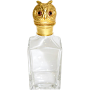 Vintage Jeweled Owl Decanter ~  Beautiful Thick  Glass Decanter with a Gilt Bronze Glass Eyed Owl ~ A Decanter GEM from My Treasure Vault.