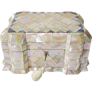 Antique English Mother of Pearl Etui Casket Hinged Box  ~ GRANDEST  Mother of Pearl with a Touch of Abalone ~  Exquisite Luminous Shell ~ Awesome Shape &  Size