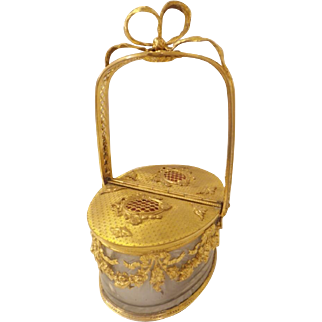 Antique French Bronze & Glass Basket with  Ornate Bow Top & RARE Double Doors ~ FRENCH MASTERPIECE ~   AS IS!