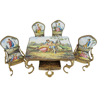 """Austrian Viennese Enamel Miniature Set """"Beautiful Pastoral Scenes"""" ~ 5  Fabulous Pieces ~ Table with Drawer, Two Arm Chairs & Two Side Chairs ~ Beautiful Pastoral Scenes."""