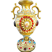 "1900  Austrian Bronze Jeweled Enamel Urn Vase ""Double Handles & Two Hand painted Porcelain Plaques with Pastoral Scenes ~ The Bronze Enamel Urn is Cover in Red & Turquoise Gems"