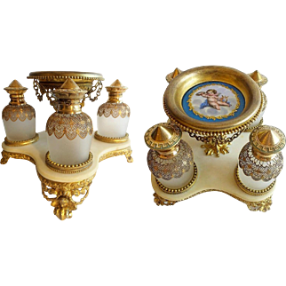 Palais Royal PUTTI Scent Caddy ~ Four  Scent Bottles Wrapped in Fabulous Gilt Lace ~ RARE &  STUNNING