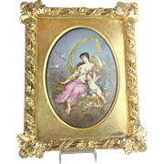 "1880 French  Hand Painted Porcelain Plaque Framed ""A  MASTERPIECE""  Beautiful Young Beauty w Winged Cherub"