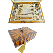 Antique Wood and Cut Steel Etui Box ~ Fitted with Treasures that will Amaze You. ~ Studded with Cut Steel Gems