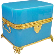 "1880 French Double Handle Blue Opaline Casket ""BIG and BEAUTIFUL"" Glorious Blue Opaline with Gilt Ormolu Double Handles &  A  Wonderful Gilt Ormolu Foot Base"