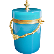 Extraordinary Beautiful Antique French Blue Opaline Covered Box Cachepot ~  Beautiful Fancy Gilt Ormolu Mounts &  Finial. ~ Fabulous Shade of Blue Opaline &  Divine Size