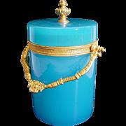 Extraordinary Beautiful Antique French Blue Opaline Covered Box Cachepot ~  Beautiful Fancy Gilt Ormolu Mounts &  Finial. ~ Fabulous Shade of Blue Opaline &  Divine Size