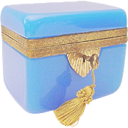 Magnificent Antique Blue Opaline Casket Hinged Box ~ Fancy Ornate Mounts &  a Locking Key ~ Beautiful BLUE Opaline ~  A RARE & Very Fine Casket from My Treasure Vault