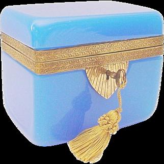 Magnificent Antique Blue Opaline Casket Hinged Box ~ Fancy Ornate Mounts &  a Locking Key ~ Beautiful BLUE Opaline ~  A RARE & Very Fine Casket from My Treasure Vault
