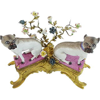 "REGAL 19C  12"" Bronze & Porcelain PUGS on Pink Pillows  ~ Pugs Nestled in a Sea of Tiny Porcelain Flowers ... Elaborate Gilt Bronze Stand.~"