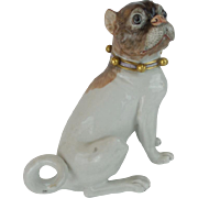 "8 ½"" Antique Dresden Porcelain Pug "" Beautiful Bells & a Bow Collar""  ~A Rare & Hard to Find Dresden Pug ~"