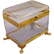 Grandest BIG Antique French Crystal Hinged Box 'PAW FEET""