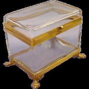 "Grandest BIG Antique French Crystal Hinged Box 'PAW FEET"""