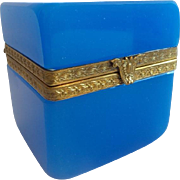 Antique French Opaline Casket Hinged Box ~ Pretty Gilt Mounts &  Ornate Clasp ~ Fabulous Blue Opaline