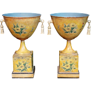 "BEAUTIFUL PAIR 10 ½""  Tole Cachepots  ~ Metal Tassels ~  Wonderful Flowers, Butterflies,  &  Scenes"