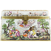 "BIG  Antique Capodimonte Casket Hinged Box ""  THE BEST!  "" Putti, Dogs, Horses, Boar ~ Very Fine Ornate Mounts With a Miniature Padlock & Key"