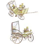 """RARE 15"""" Antique French Jeweled Bronze Carriage with Opaline Scent Bottles.~ Moveable Wheels  &  Jeweled Lanterns  MAGNIFICENT"""