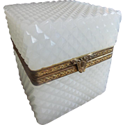 Antique French Diamond Cut White Opaline Jewelry Casket Hinged Box ~ Nice Fancy Gilt Mounts &  Clasp ~ JUST an Awesome Cut!