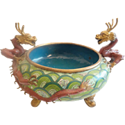 "LAYAWAY Antique 13"" Chinese Cloisonné Footed Bowl w\ Twin  Dragons  Handles  ~  Terrific Colors &  Size ~EXQUISITE"