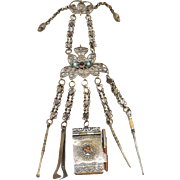 "Victorian 9"" Jeweled Brass Chatelaine ~The Gilt Brass Chatelaine has an Aide-Memoire with Pencil,  A Pick with Twist Top, A Snuff spoon, Tongs, & Stiletto~"
