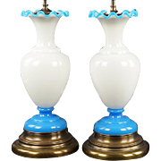Magnificent Antique French Opaline Lamps ~  PAIR White Opaline Lamps Touched w Circle of Blue Opaline at the Top &  Base Resting on a Gilt Metal Stand~  EXQUISITE  & GRAND