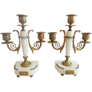 "Antique French Alabaster Triple Candelabras  "" NICE PAIR""  ~  Beautiful Bronze &  White Alabaster  ~"