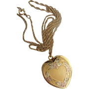 """Vintage  Gold Filled Engraved Tri-Color  Heart Locket w 18"""" Chain  ~ Engraved Tri-Colored Heart Locket for Two Pictures ~"""