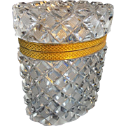 """Exquisite Antique French Cut Crystal Casket Hinged Box  """"Lovely Quality & Superior Cut"""""""