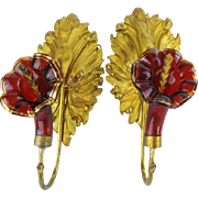 Beautiful  Antique Ruby Glass Ormolu Drapery  Curtain Tie Backs  ~ BIG Gilt Leaves Holding a Glorious Ruby Flower Trimmed in a Touch of Gilding ~