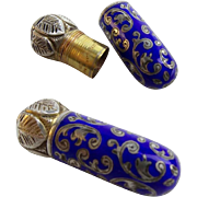 Antique Austrian Silver Enamel Miniature Lipstick ~ Cobalt Blue &  Gleaming Sterling Silver ~ Stamped: Sterling Made in Austria